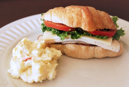 Turkey and Avocado Croissant with Potato Salad